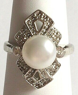 Silver White Pearl Art Deco Cocktail Ring Size 6 7 8 9 Plated Crystal Vintage