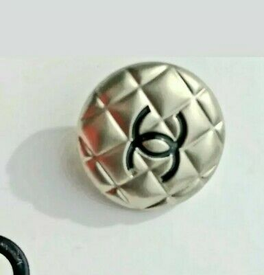 CC Chanel Quilted Silver Buttons. 8 inches  20 mm  Authentic PRETTY