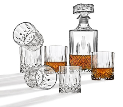Vintage Whiskey Decanter Crystal Glass Liquor Bottle Wine Stopper With 4 Cups