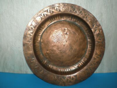 Handmade copper antique Greek Plate/Tray engraved with inscriptions from 19th c.