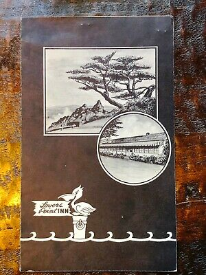 Collectible Lovers Point Inn Pacific Grove California Menu