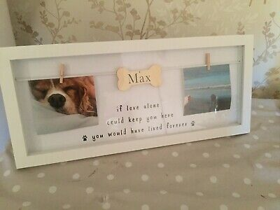 Personalised Dog Memorial Picture Frame With Bone...Black Or White