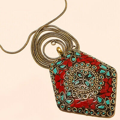 Red Coral With Blue Turquoise Gemstone Gold Plated Tibetan Pendant Chain 17-18""