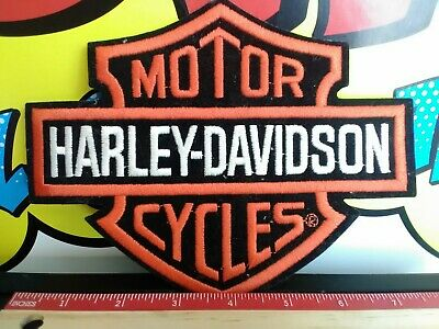 "Harley Davidson Classic Orange Logo Patch! 7 3/4"" x 6"" Nice!"