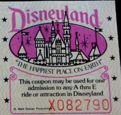 Disneyland Small Courtesy Guest Ticket From September 1980 Featuring The Castle