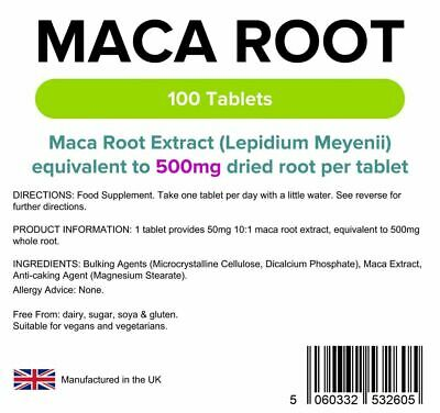 Maca Root Extracts 500-Mg Libido/Sexual Energy Boosting Tablets