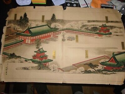 Antique Japanese Hand Tinted Colour Engraving, Signed, Large, Vivid Colours