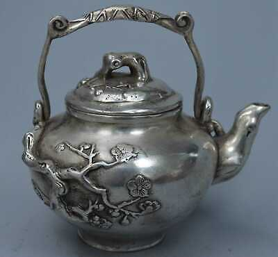 Collectable Handwork Old Miao SIlver Carve Plum Blossom Auspicious Tibet Tea Pot