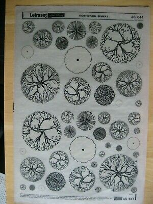 1 x Letraset Architectural Symbols (Trees) Sheet AS 644 ^