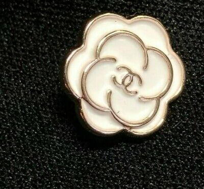 "CC Chanel Camellia Flower Button 10 mm .4 "" Logo White and Gold Tiny UNIQUE"