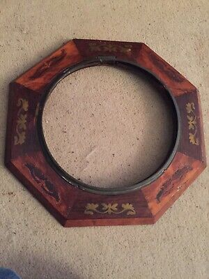 """Antique Inlaid Wood Wall Clock Bezel And Frame 13.25""""sq"""