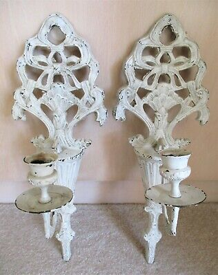 PAIR Antique Cast Iron CANDLE WALL SCONCES Shabby White Vintage URN BOWS Two