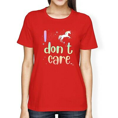 1Tee Womens Loose Fit Unicorn I Don't Care T-Shirt