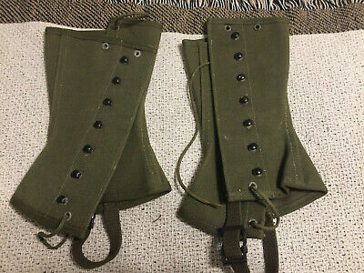 Almost Mint! US ARMY Original WWII M1938 Leggings Boot Covers Size 2R Dated 1944