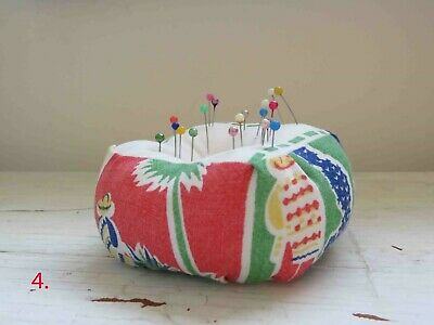 Pincushion Handmade Vintage Fabric Pin cushion Mexican Print #4