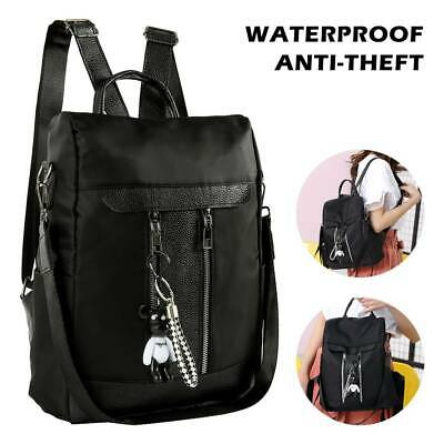 AU Women's Leather Backpack Anti-Theft Rucksack School Shoulder Bag Black/Brown: