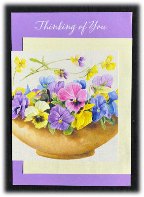 Vintage Marjolein Bastin Thinking Of You Pansies Hope You're Doing Ok Card