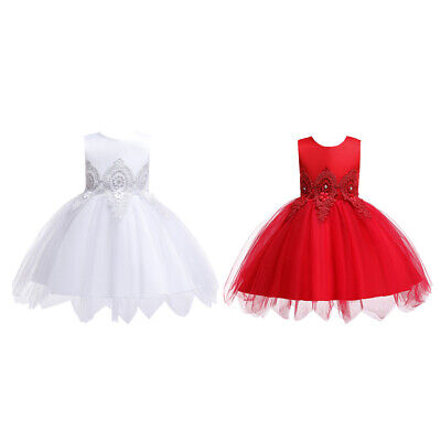 Summer Backless Big Bow Infant Baby Girls Dress Lace Tutu Evening Kids Z5M5