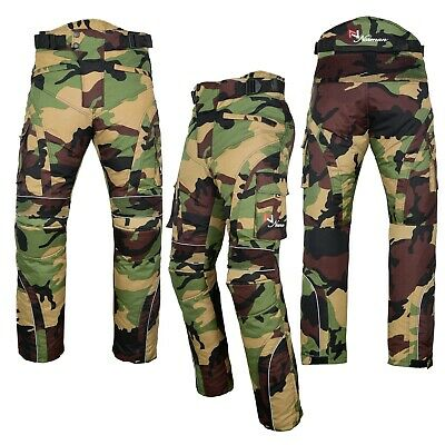 Motorbike Motorcycle Waterproof Cordura Textile Trousers Pants Armour Green Camo