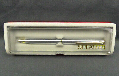 Sheaffer Stainless White Dot Twist Ball Point Pen Made in USA NOS
