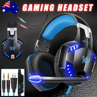 3.5mm MIC LED Gaming Headset Headphones for Laptop PC PS4 Xbox One 360 AU STOCK