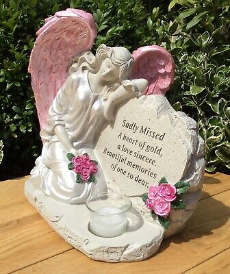 Sadly Missed Grave Memorial Ornament Angel With Glass Candle Cemetery Gift