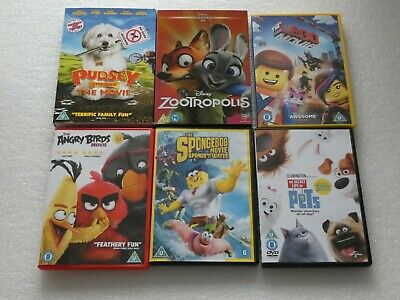 Zootropolis / Angry Birds / Spongebob / Pudsey / Lego Movie / Life Of Pets - Dvd