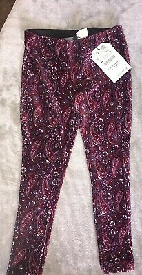 Zara Girls Burgundy Paisley Corduroy Legging Size 5 Years