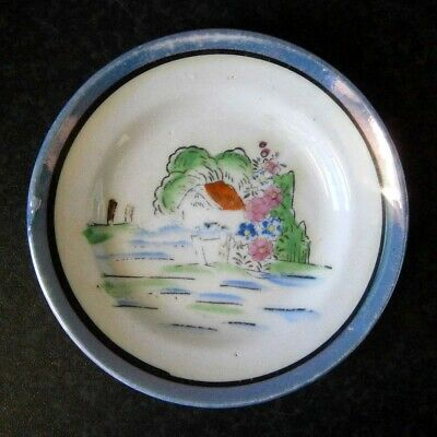 ANTIQUE VINTAGE JAPANESE CHINA MINIATURE HAND PAINTED PLATE Blue Lustre Border