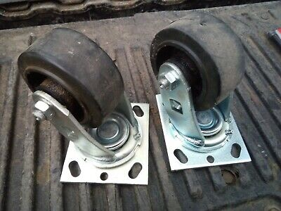 9Qq36 Pair Of Plate Casters, Pemco E-4: Ball Bearing Swivel, Needle Bearing Axle