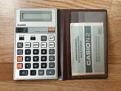 Casio Vintage Electronic Calculator N-2 10 Digit with Case & instructions retro