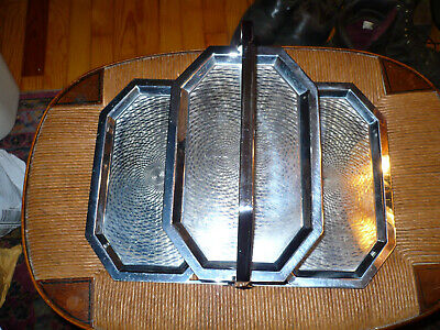 Chase Brass Chrome Art Deco Three Tiered Folding Tray