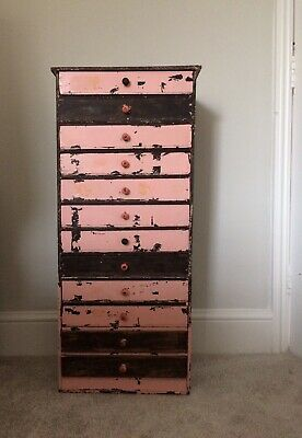 Vintage Industrial Shabby Chic Chest Of Drawers Apothecary Workshop Watchmakers