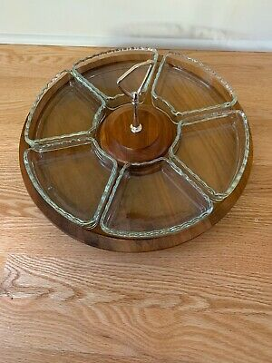 Vintage Vermillion Real Walnut Wooden Turntable Spins Vegetable Fruit Dip Tray