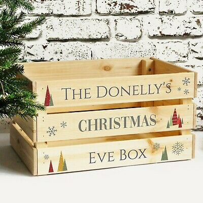 Personalised Large Christmas Eve Box Family Treat Box, Solid Wooden Xmas Crate