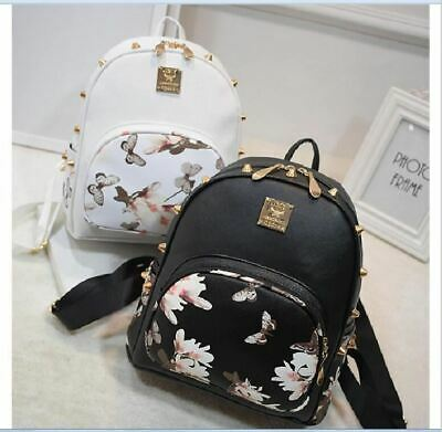 Fashion Flower Butterfly Print Women's Leather Backpack Rivet Girls Bag