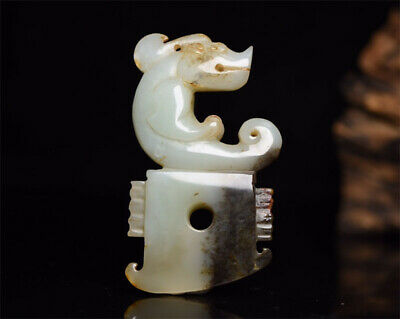 "3.66"" Chinese 100%natural Hetian Nephrite jade Hand-carved Zodiac dragon Pendant"