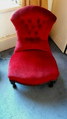 Antique Red Velvet Victorian Button Back Small Nursery Chair