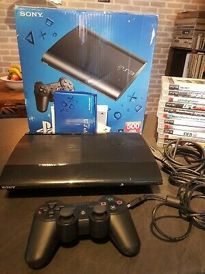 Sony playstation 3 Superslim 500gb, 13 game bundle, wireless controller boxed