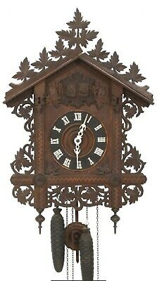 LARGE Antique Gate House Black Forest Cuckoo & Quail Clock German Germany