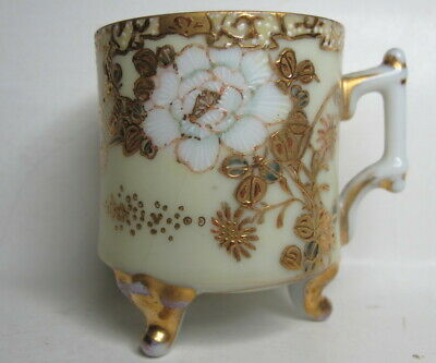 Antique Chinese/Japanese 3 Footed Eggshell Porcelain Demitasse Cup Gilt Accents