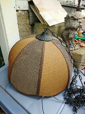 """Vintage 1940s Wicker&Bamboo"""" Hanging Cieling Lamp! Rare!"""