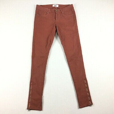 Paige Womens Size 24 Brick Colored Wax Skinny Jeans Zipper Ankles Stretch. B7