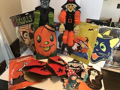 Vintage Halloween Die Cut Lot Many NOS Pieces 1940s & Up