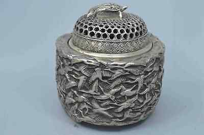 Collection Handwork Old Miao Silver Carve Thousand Bird Auspicious Tibet Statue