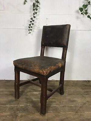 Antique Early 20th Century Arts And Crafts Oak And Leather Chair