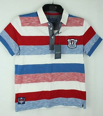 Boys HOWICK Red Mix Block Stripe Short Sleeve Rugby T-Shirt Size 11-12 Years
