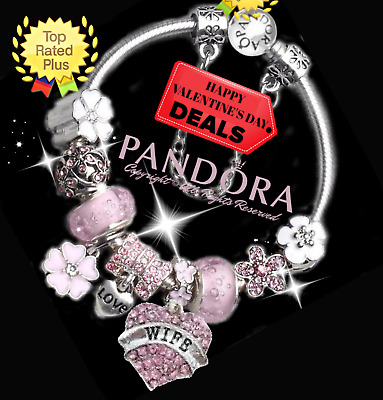 Authentic Pandora Charm Bracelet Silver Pink LOVE HEART  European Charms New