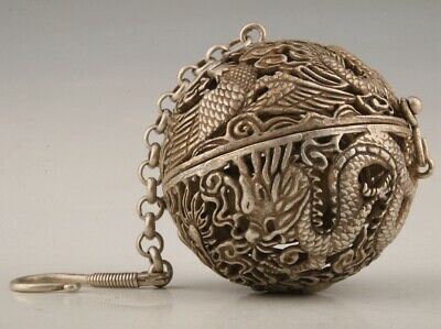Unique China Tibetan Silver Pendant Incense Ball Hollow Dragon Phoenix Old