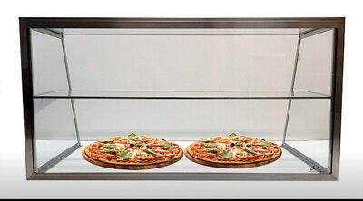 "Carib 36"" 3FT Stainless Steel Sneeze Guard Pizza Display Case w/ Undershelf"
